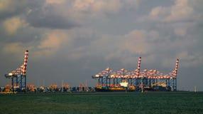 Панорама порта Джибути, корабли и груз вытягивают шею Стоковые Изображения RF