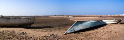 Панорама порта и пляжа Berbera с шлюпками Сомали Стоковые Изображения