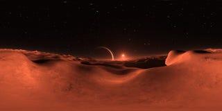 Панорама 360 похожего на Марс захода солнца Exoplanet, карты окружающей среды Проекция Equirectangular, сферически панорама иллюстрация штока