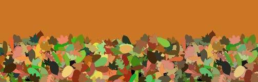 Панорама предпосылки с упаденными листьями осени стоковая фотография