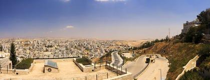 Панорама пригорода восточного Иерусалима и городка западного берега Стоковое Фото