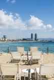 Панорама пляжа Барселоны, Испания Стоковые Фотографии RF