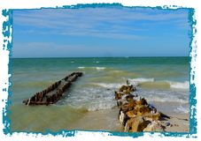 Панорама пляжа и океана в chelem Мексики стоковое фото rf