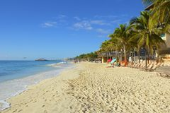 Панорама пляжа Playa del Carmen, Мексики Стоковая Фотография
