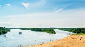 Панорама реки Volkhov в Veliky Новгороде Стоковые Фотографии RF