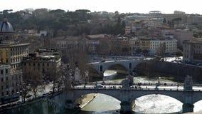Панорама Рима, Италии, Европы от Castel Sant Angelo на летний день Чайки акции видеоматериалы