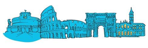 Панорама Рима покрашенная Италией иллюстрация вектора