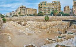 Панорама римской деревни в археологических раскопках Dikka объявления Kom, a Стоковые Фото