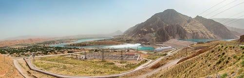 Панорама русской станции мощности ГЭС/HPS Sangtuda 1 в Таджикистане Стоковая Фотография RF
