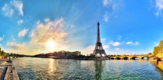 Панорама Сены Eiffel Стоковые Изображения RF