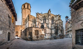 Панорама собора святых креста и Святого Eulalia Стоковое Фото