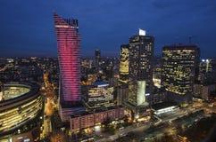 Панорама современной Варшавы к ноча Стоковое фото RF