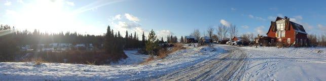 Панорама Солнце зимы и снег Стоковая Фотография RF