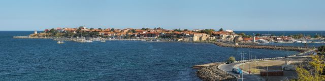 Панорама старого городка Nessebar, Болгарии Стоковое Изображение RF