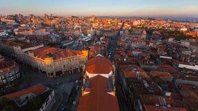 Панорама старого центра города от башни Clerigos, Порту Стоковая Фотография RF