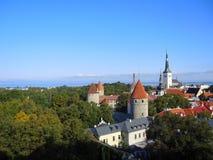 Панорама старой части Таллина Стоковое Фото