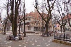 Панорама старых исторических зданий в центре города Kezmarok в Словакии Стоковые Фото