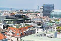 Панорама с кафем крыши, веной, Австрией Стоковое Изображение RF