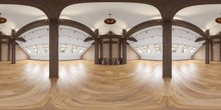 Панорама с лучами, кирпичная стена просторной квартиры пустая внутренняя, деревянный пол бесплатная иллюстрация