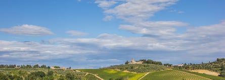 Панорама типичного тосканского ландшафта Стоковое Изображение RF