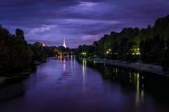 Панорама Турина на сумерк с рекой Po Стоковое Изображение RF