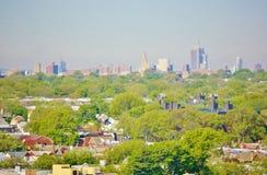 Панорама ферзей Бруклина Нью-Йорка вида с воздуха Стоковые Фото