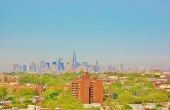 Панорама ферзей Манхэттена Нью-Йорка вида с воздуха Стоковое Изображение RF