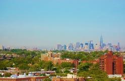 Панорама ферзей Манхэттена Нью-Йорка вида с воздуха Стоковое Изображение