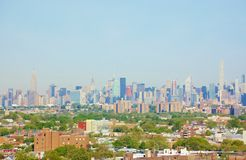 Панорама ферзей Манхэттена Нью-Йорка вида с воздуха Стоковые Фото