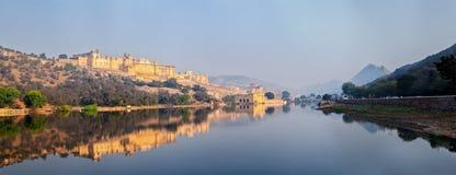 Панорама форта Amer (Амбера), Раджастхана, Индии Стоковое Фото