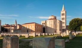 Панорама форума Zadar старая на заходе солнца, Хорватии стоковое изображение rf