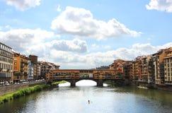 Панорама Флоренса с старым мостом Стоковое Фото