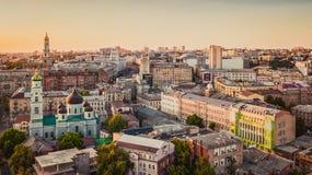 Панорама Харькова Украины города от высоты стоковые фото