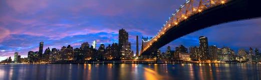 Панорама центра города Манхаттан Стоковые Изображения RF