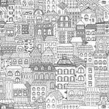 Панорама черно-белого эскиза безшовная города Стоковые Изображения