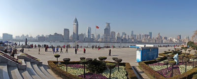 Панорама Шанхая waitan Стоковые Фото