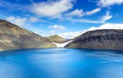 Панорама эффектного озера кратера в Исландии Hylur ¡ Hnausapollur Blà или голубое озеро кратера бассейна Исландия Стоковое Изображение