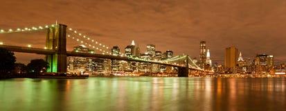 панорама brooklyn manhattan моста стоковые изображения rf