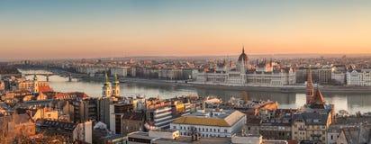 панорама budapest Венгрии Стоковая Фотография RF