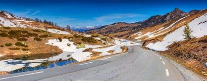 Панорама Col De Vars пропуска, Альпы, стоковая фотография