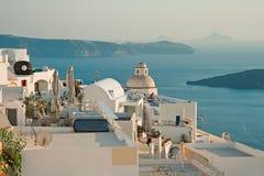 Панорама Fira, Santorini, Греция стоковое изображение rf