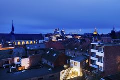 Панорама Hasselt на ноче Стоковая Фотография