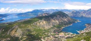 панорама kotorska boka залива Стоковое Изображение RF