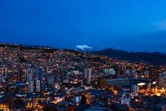 Панорама La Paz ночи стоковая фотография