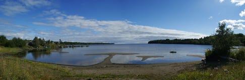Панорама Lake Onega, Karelia, России стоковое изображение rf
