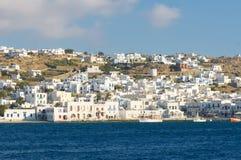 Панорама Mykonos, Греции стоковые фотографии rf