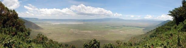 панорама ngorongoro кратера Стоковые Изображения RF
