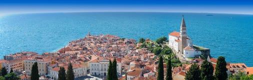 Панорама Piran Стоковые Изображения