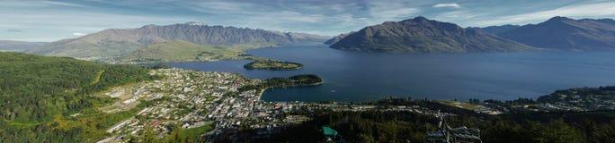 Панорама Queenstown, Новой Зеландии Стоковые Изображения RF