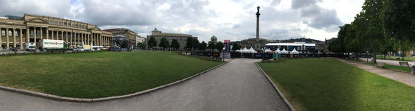 Панорама Schlossplatz, Штутгарт Стоковое Изображение